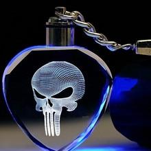 Fantasia & fantasia ilumina acima do punisher led crânio logotipo esqueleto filme máscara moda chaveiro legal crânio chaveiros para presente masculino zdsp