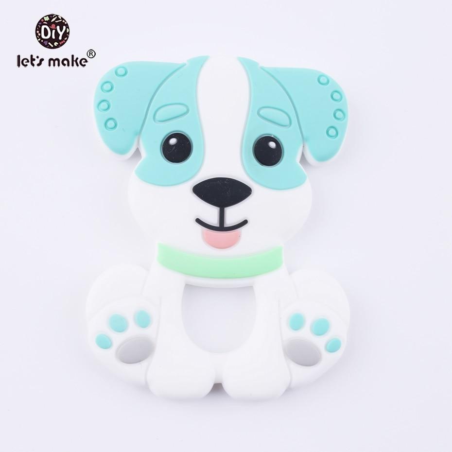 Let's Make Blue Color Cartoon Dog 1pc Baby Teether Cute Toys BPA Free DIY Nursing Teething Pendants Food Grade Silicone Teether недорого
