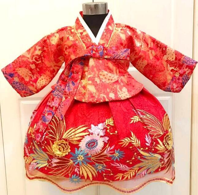 Alta Qualidade Menina Hanbok Coreano Inverno das Crianças Crianças cheongsam vestido bordado Phoenix