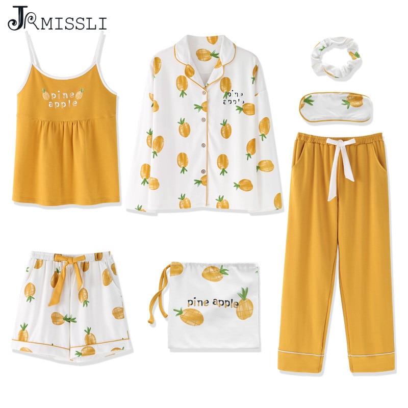 JRMISSLI 2019 пижамы для женщин 7 шт. пижамные комплекты Желтый Ананас Печать домашняя одежда хлопок пижамы набор пижамы