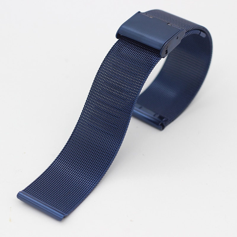 Купить с кэшбэком Milanese 10mm 12mm 14mm 16mm 18mm 20mm Golden Rose Gold Blue Stainless Steel Watch Band Milan Mesh Strap Metal Watch Bracelets