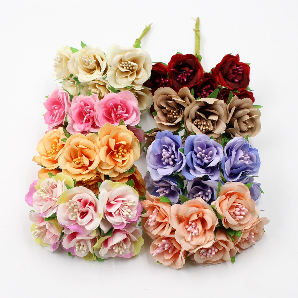 6 unids/lote 3cm flores artificiales de seda estambre bouquet de rosas para boda decoración DIY guirnalda scrapbook artesanal caja de regalo de la flor