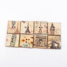 Mix Cityscape-timbre-poste peint   2 trous, boutons en bois, couture faite à la main, Scrapbooking, artisanat, bricolage, 20mm 30 pièces,