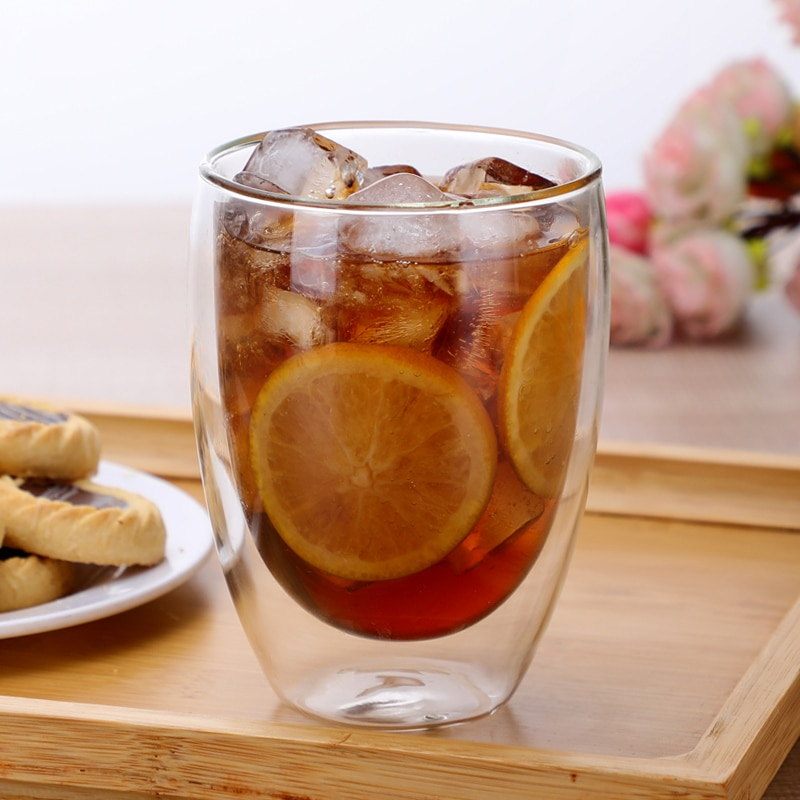 1 Uds doble pared de vidrio taza para té y café jarras de jugo de leche café taza resistente al calor cerveza cóctel taza