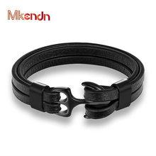 Mkendn pulseira de couro de alta qualidade para homens preto multicamadas corda corrente âncora aço inoxidável masculino jóias pulseras presentes