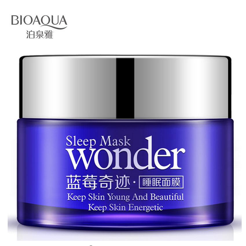 Bioaqua maravilha mirtilo natural máscara de dormir para a acne controle de óleo hidratante inverno pele brilhante manter a beleza jovem energia