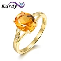 fashion natural citrine gemstone oval cut solid 14k yellow gold diamond wedding engagement promise ring set for women