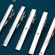 New Simple Metal Silver Tie Clip For Men Wedding Necktie Tie Clasp Clip Gentleman Tie Bar Crystal Ti