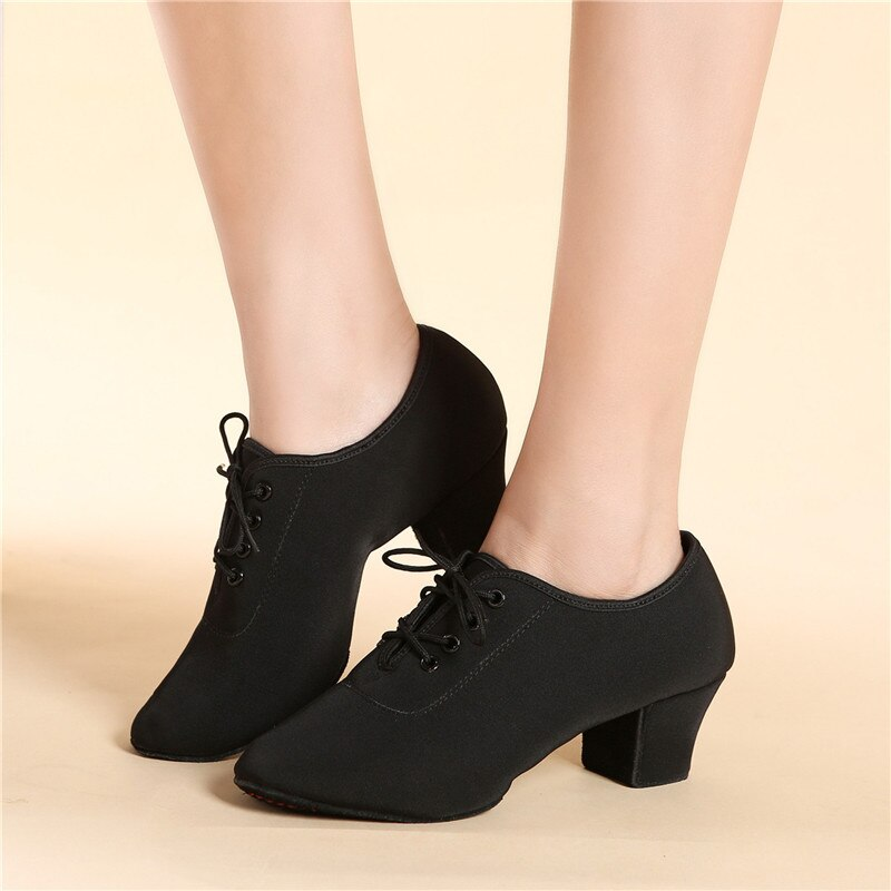 SUN LISA Womens Ladys Girls Indoor Oxford Leather Sole Chunky Heel Sneaker Ballroom Modern Latin Dance Shoes 5cm Heel High
