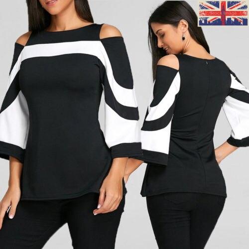 2018 UK moda mujeres señoras suelta Casual manga larga volver Zip camisa algodón Tops camisetas