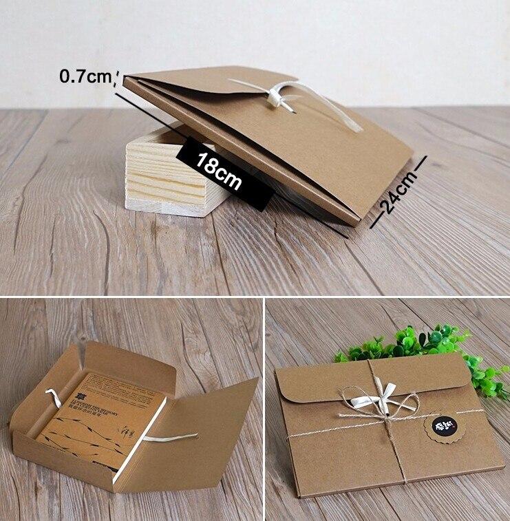 10 pces 24*18*0.7cm logotipo personalizado lenço de seda presente caixa de papel kraft papel envelope saco caixa de embalagem cartão postal foto cd dvd caixa de embalagem