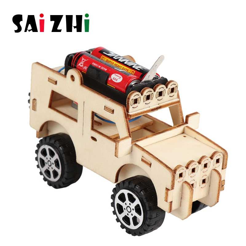 Saizhi DIY Электрический джип модели наборы Дети Обучающие студентов детей пар научный эксперимент автомобиль игрушки обучающая игрушка