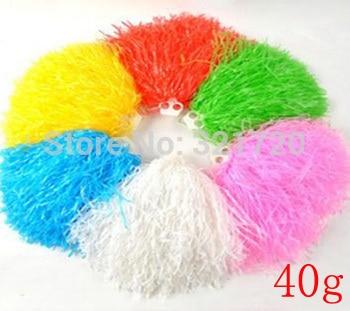 Pompones de animadora de plástico de 40g (10 unids/lote) pompones de porristas de Color y mango pueden elegir envío gratis