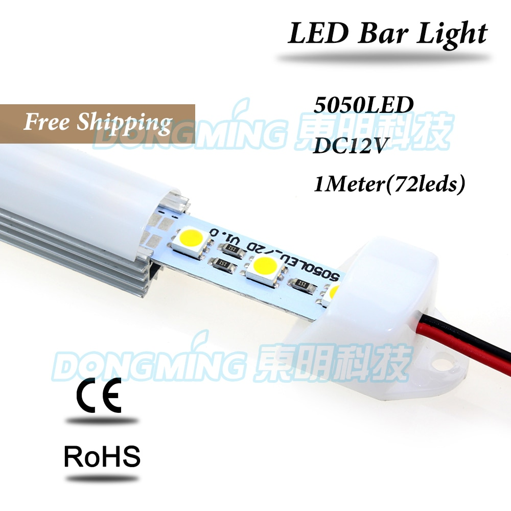 Perfil de aluminio U 5050 Barra de luz LED 100cm 72leds 12V con lechoso/claro pc covcer cocina luz LED para debajo de gabinete
