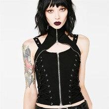 JIEZuoFang, черный, сексуальный топ на молнии, женские летние топы со шнуровкой, женская одежда, жилет, футболка, готический панк