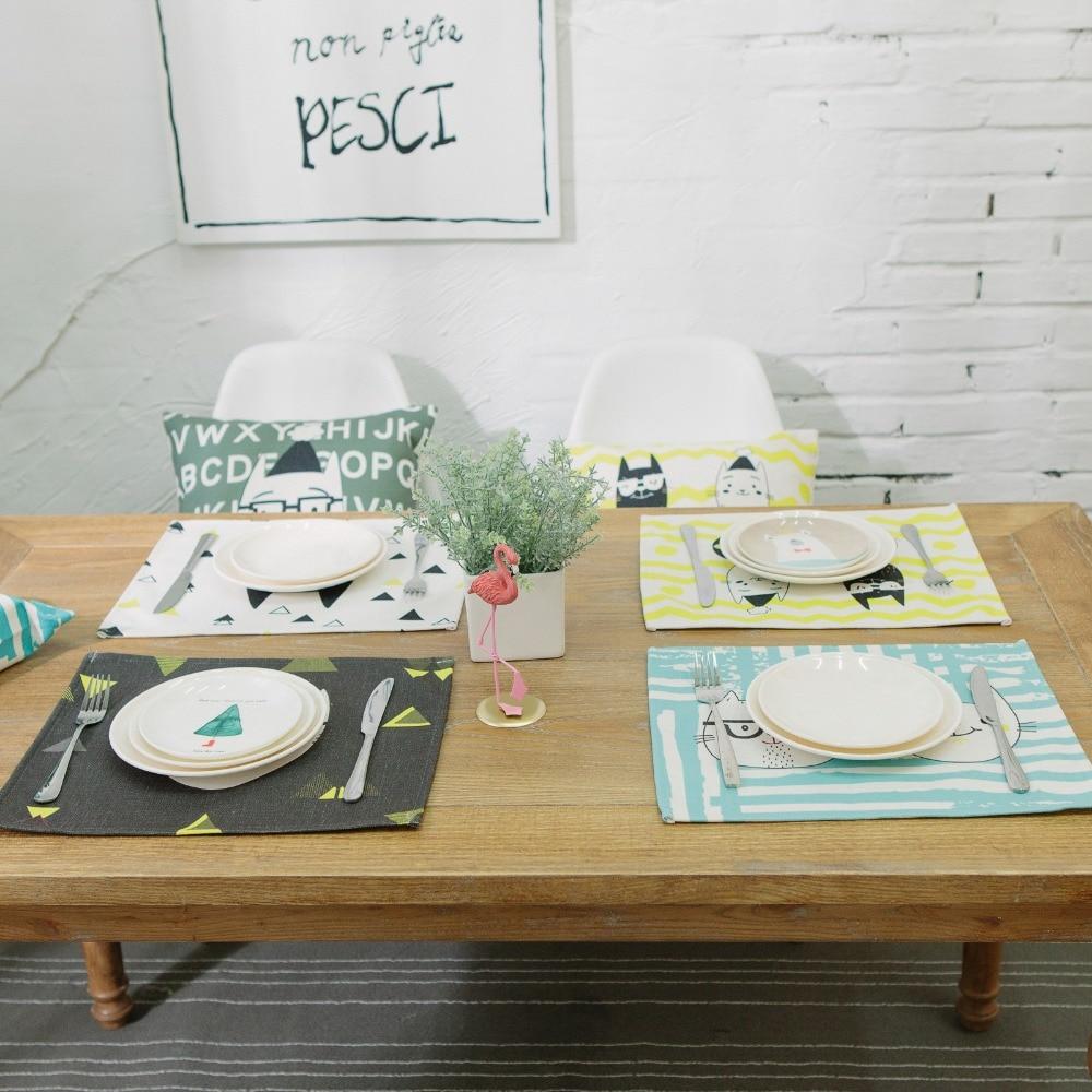 40X31cm хлопковый льняной коврик для стола милый кот мультфильм животных шаблон