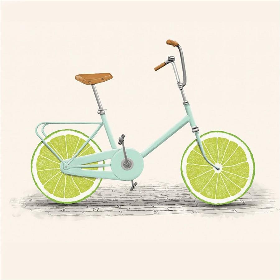 Cuadro en lienzo artístico de frutas, pósteres con diseño de bicicleta y...