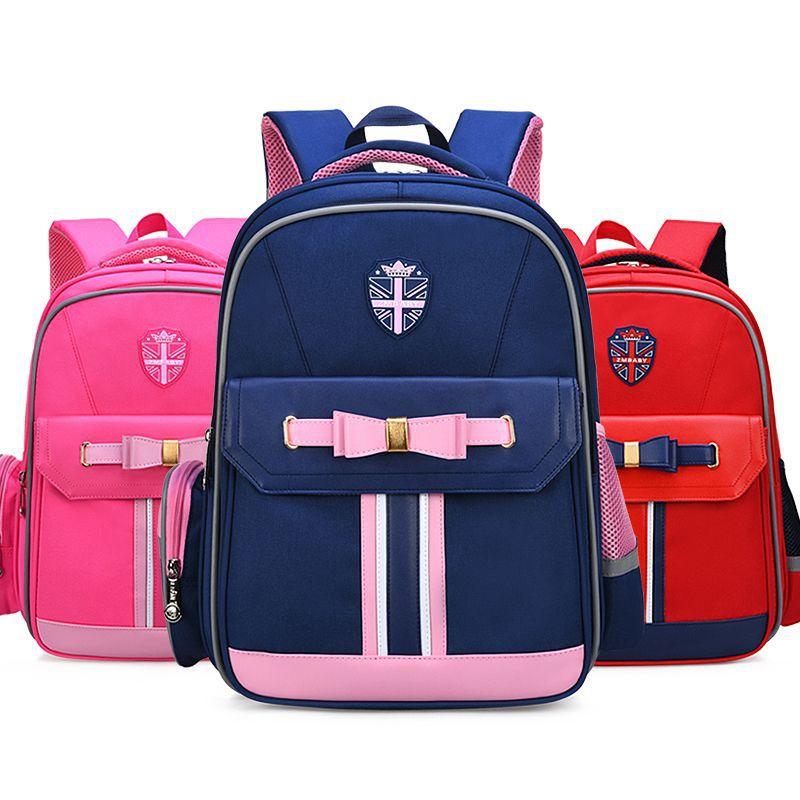 2019 Bowknot cinturón de la Unión Jack niña niño niños de la escuela primaria bolsa mochila mochilas de niños adolescentes estudiantes mochilas
