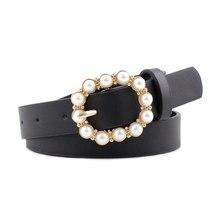 Cinturón decorativo de perlas de moda para mujer, cinturón de mujer con hebilla de Pin redondo, cinturón delgado de cuero PU sólido informal