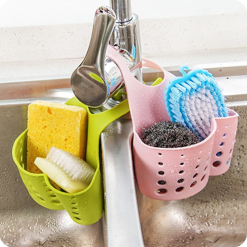 Estante para fregadero de cocina, soporte para escurrir esponja, cesta de almacenamiento, tela de lavado, estante para jabón de baño, organizador, accesorios de ventosa