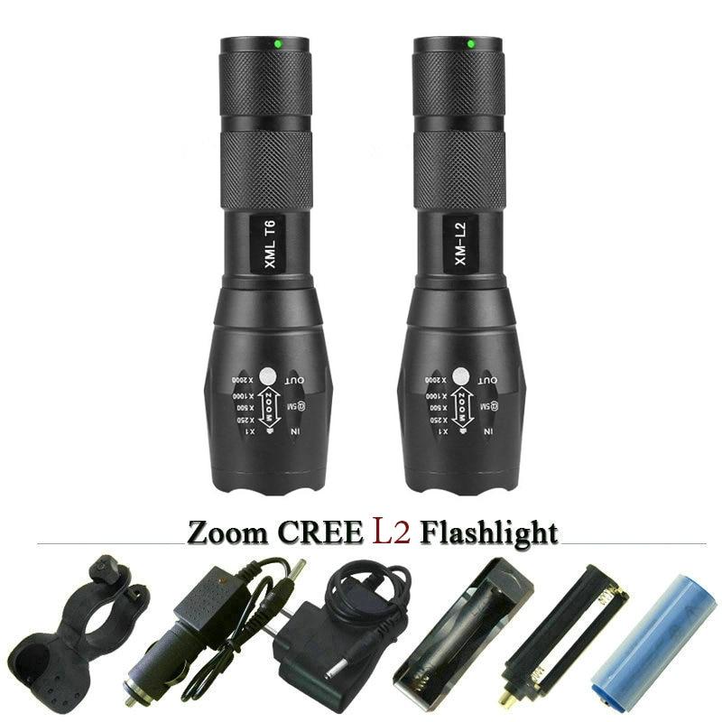 Wysokiej jakości latarka L2 5000 lm CREE XML T6 Zoomable latarka LED latarka taktyczna do akumulatora AAA lub 18650