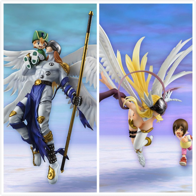 Anime Monstruo Digital Angemon y Angewomon modelo figuras de acción de juguete