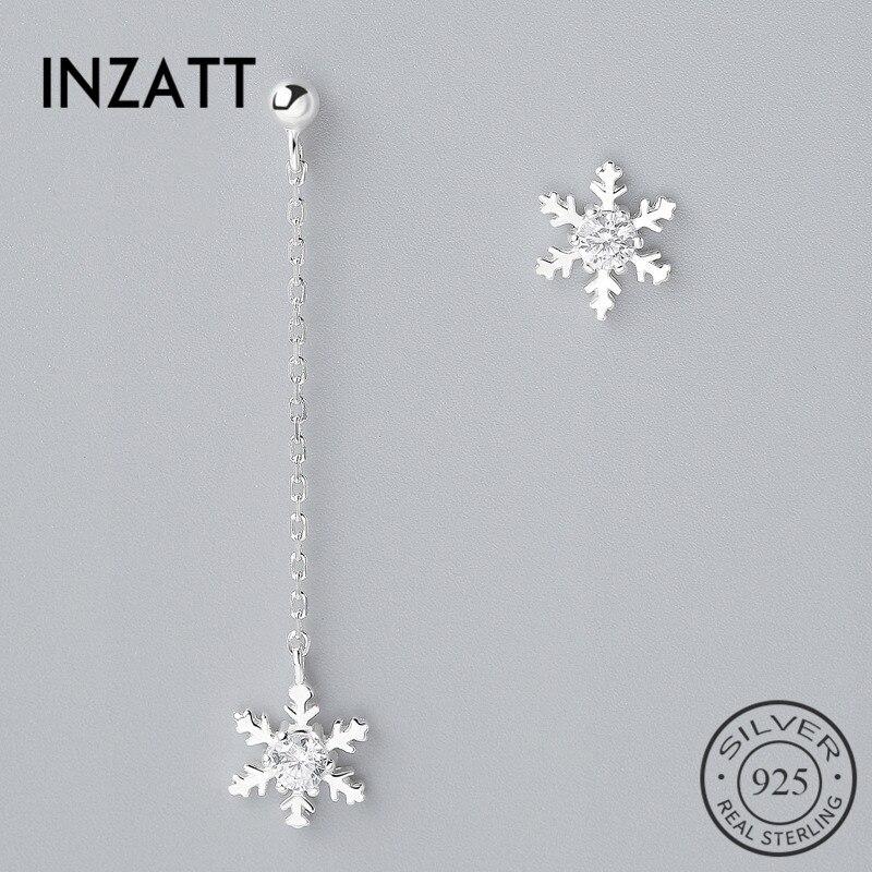 INZATT pendientes colgantes de cristal de nieve con borlas Plata de Ley 925 auténtica para mujer, joyería de estilo minimalista para fiesta, accesorios de regalo