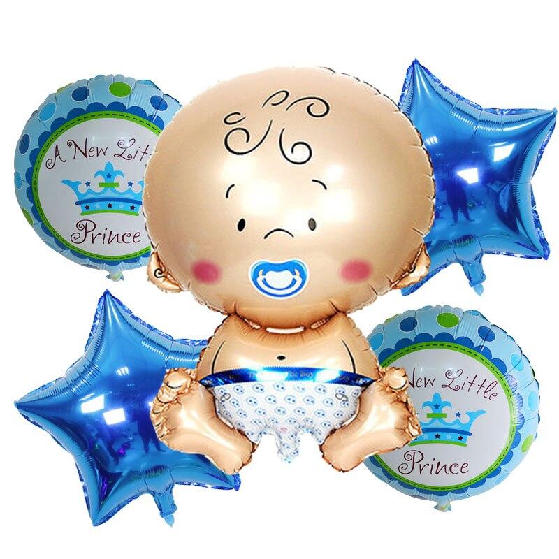 Nuevo 5 unids/lote de globos de lámina de ducha para bebé, decoraciones para fiesta de cumpleaños, bolas de aire, globos de helio para niña y niño, suministros para fiestas