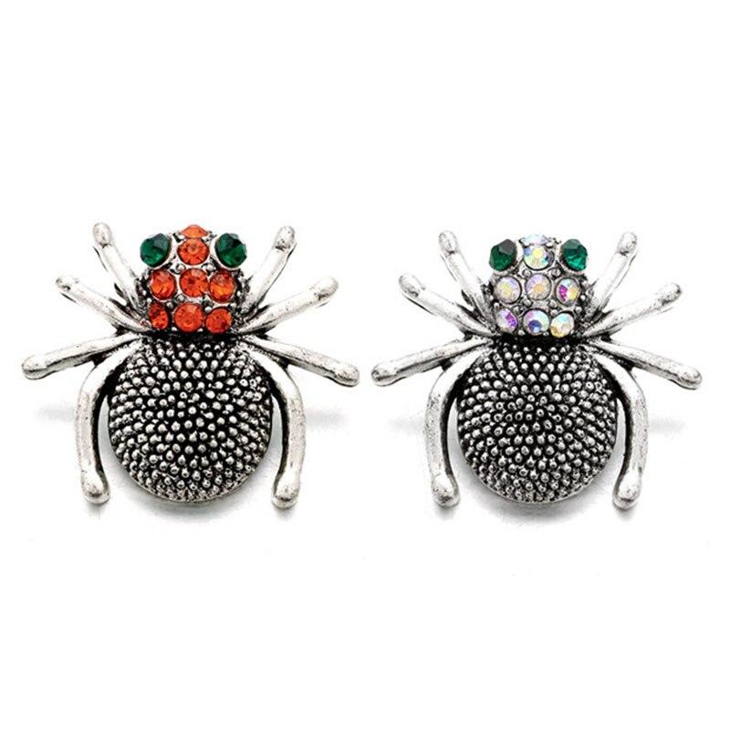 Venta al por mayor w302 araña 18mm Botón de presión de metal de diamante de imitación para pulsera collar joyería para las mujeres joyería accesorios de moda