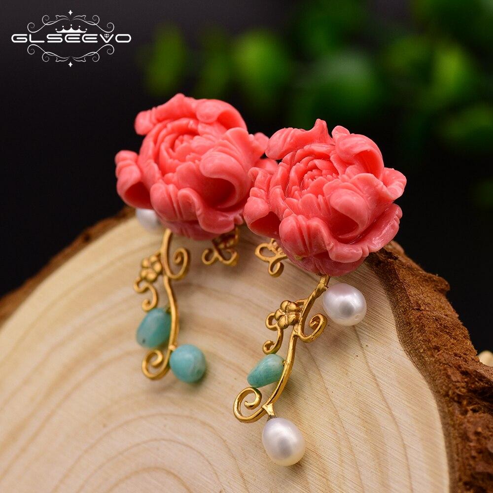 GLSEEVO, оригинальные женские серьги-гвоздики ручной работы кораллового цвета с красным цветком, подарок на вечеринку, серьги-гвоздики из нату...