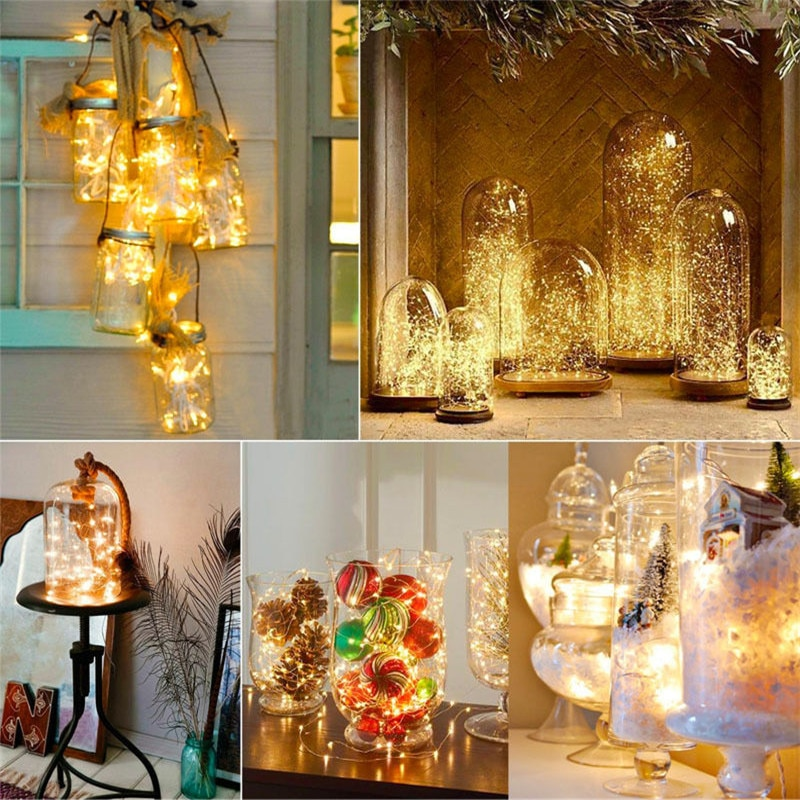 holiday lighting 5m 50led string light copper silver wire battery fairy christmas garland wedding party decoration outdoor LED Fairy String Light 1M 2M 5M Copper Wire LED Strip Holiday Light Party Wedding Garland Lighting Decoration CR2032 Battery