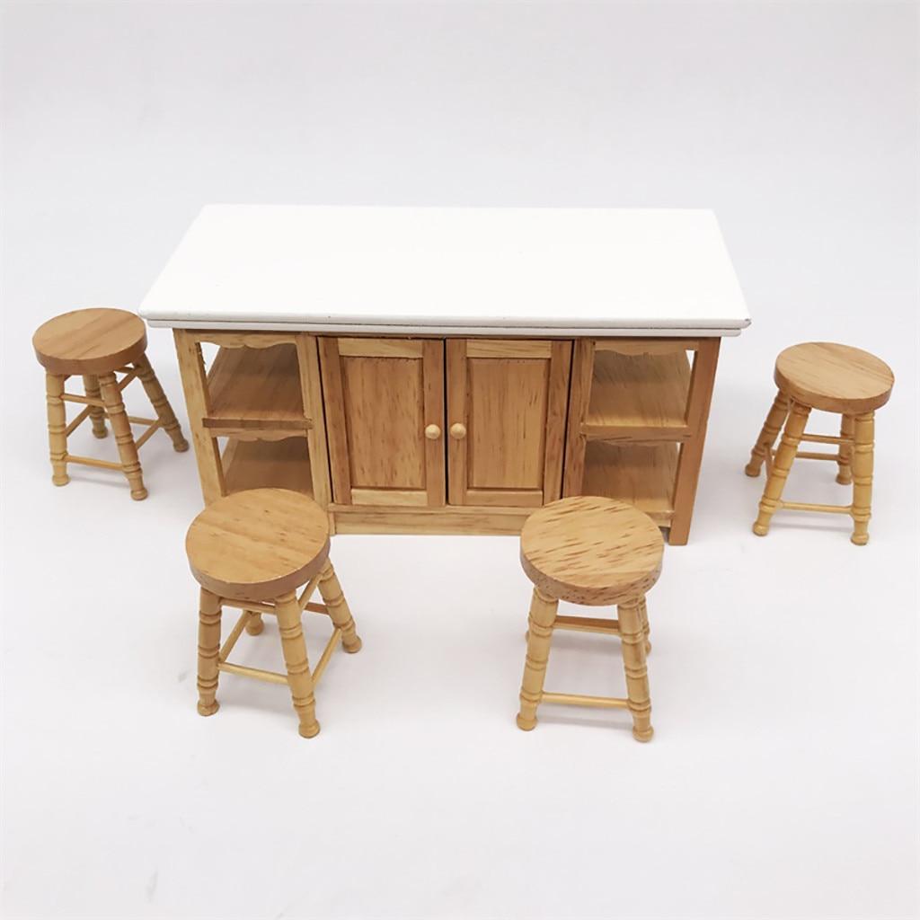 1/12 Mini mueble miniatura para casa de muñecas taburete alto de madera Color sala de estar juguete casa de muñecas decoración de madera taburete alto P #