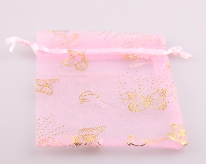30 pçs 8*12cm rosa ouro borboleta organza saco de presente para pulseira colar bolsa de jóias embalagem