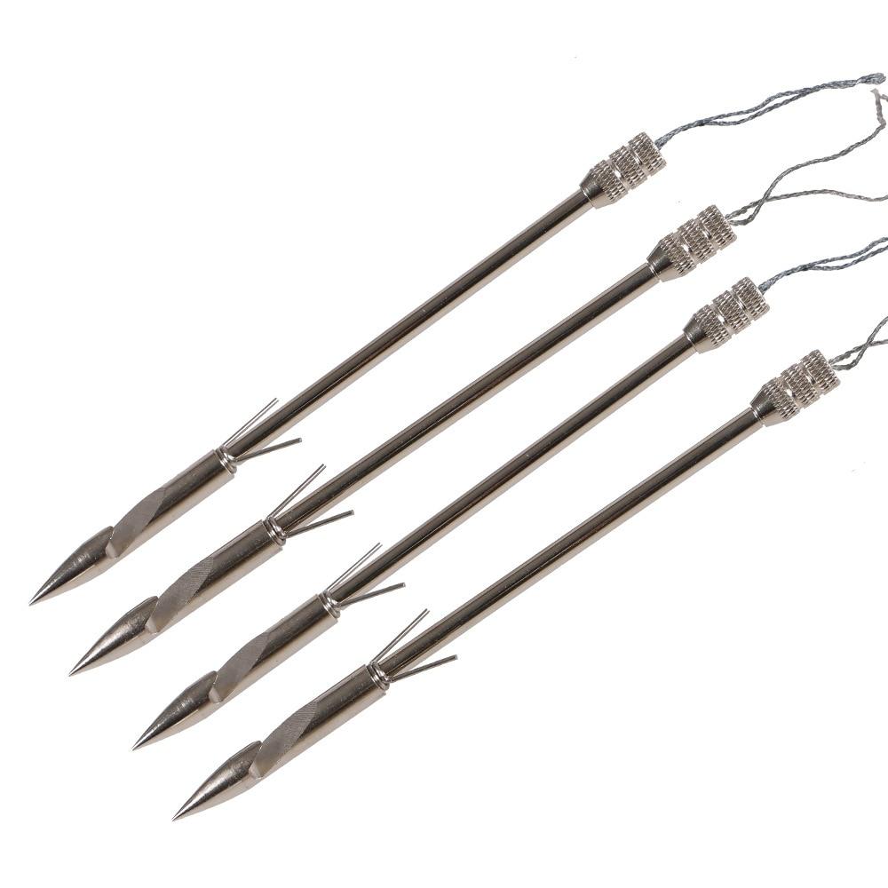 6PCS silver Steel Fishing Arrowheads Broadheads Tips for Slingbow Crossbow Slingshot