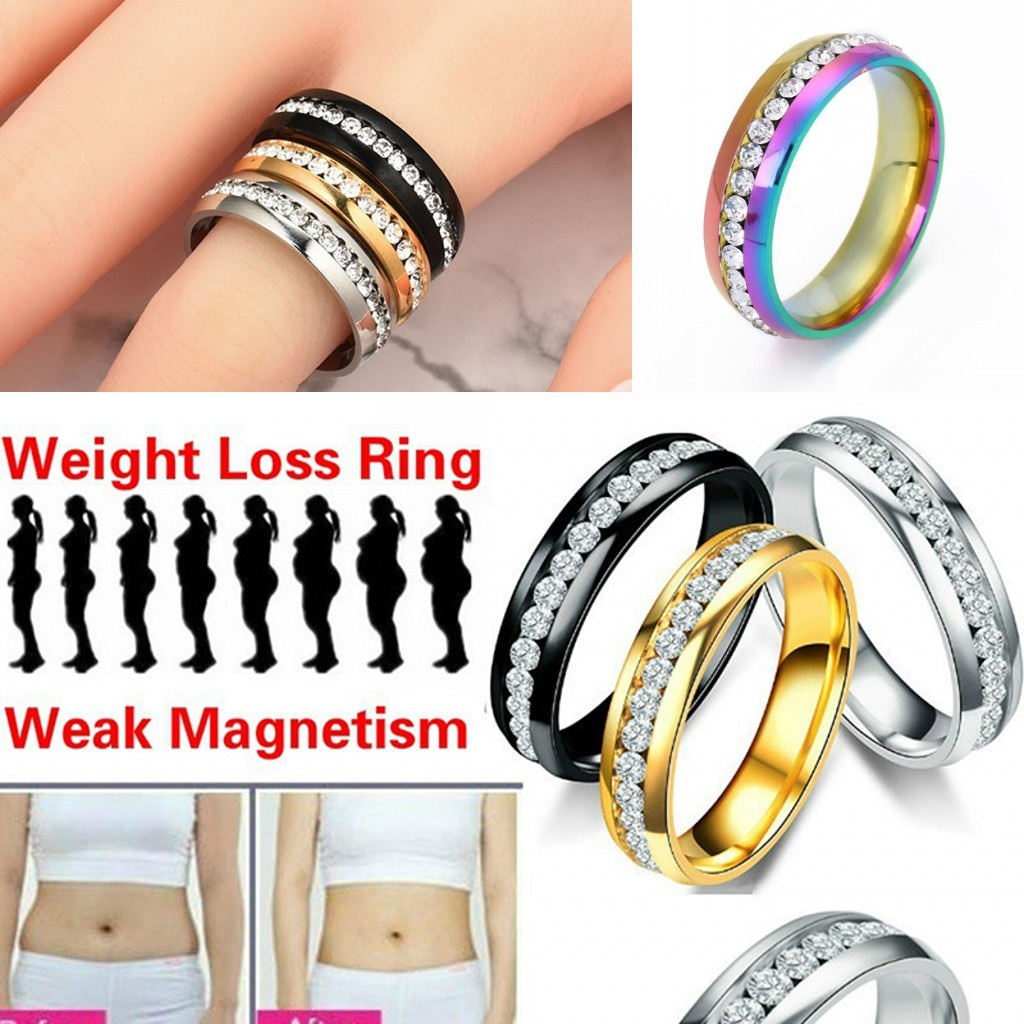 1 Aro para adelgazar, anillo magnético para perder peso, anillos de cristal de acero inoxidable para mujer, plateado/Multicolor/Negro/dorado