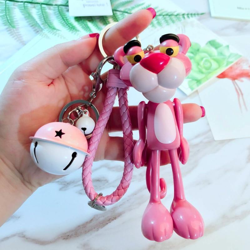 Cute Anime Cartoon Pink Leopard Bell Keychain Rabbit Fur Ball Fluffy Key Ring Women Holder Charm Bag Purse Car Key Chains