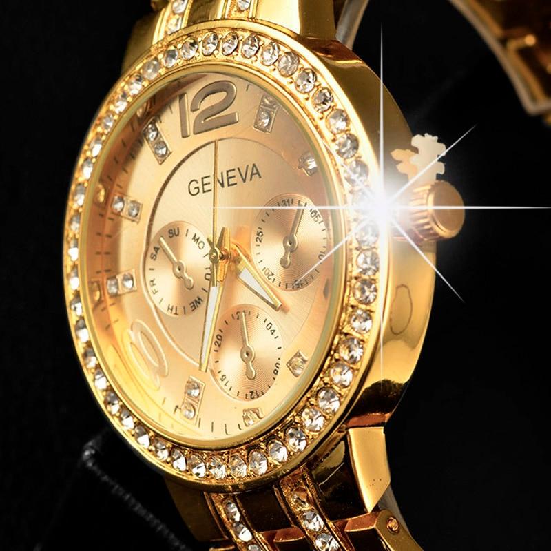 Reloj Geneva de lujo para mujer, relojes de cristal de lujo a la moda de acero inoxidable, relojes de oro para mujer, relojes para mujer 2020