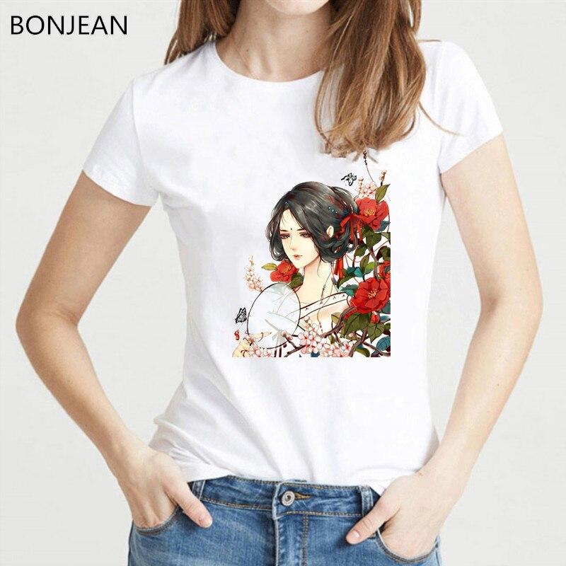 Mulher antiga chinesa flores impressão tshirt vintage t camisa das mulheres tumblr roupas femininas geek camiseta harjuku camisa estética topos