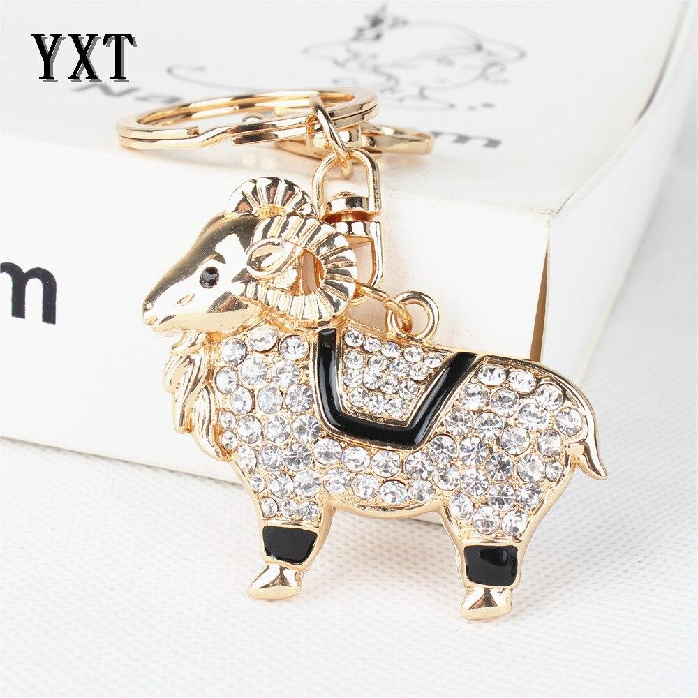 Goat Sheep Cute Crystal Rhinestone Charm Pendant Purse Bag Car Key Ring Chain Creative Wedding Party Gift