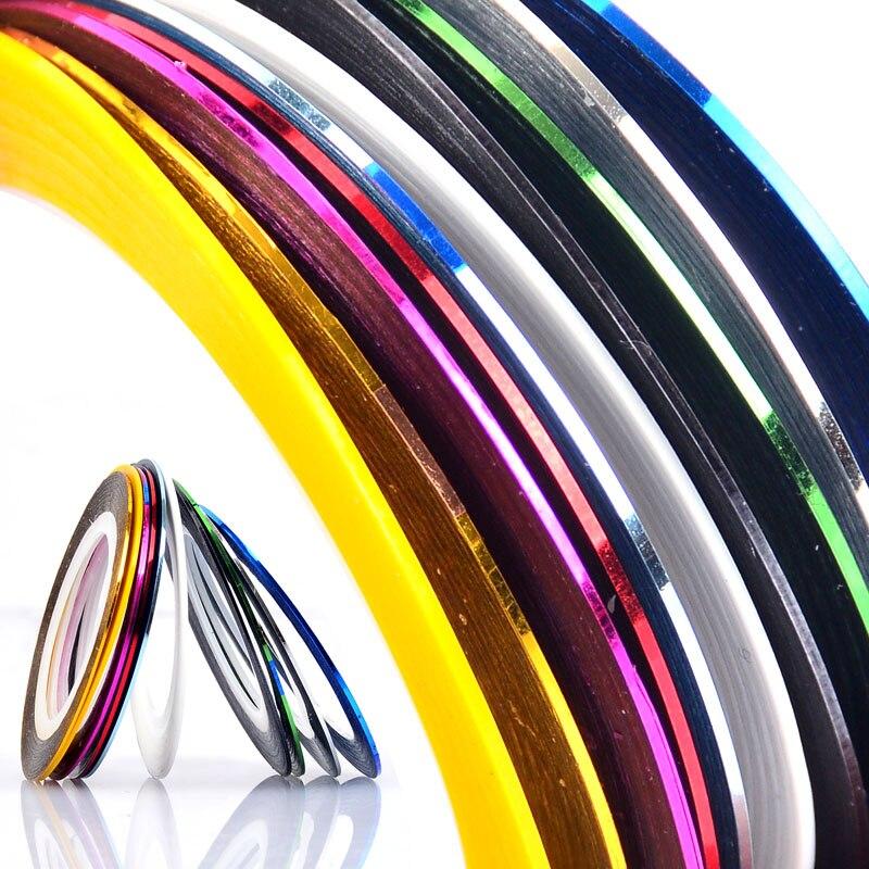 1mm 10 unids/lote brillo de Color de uñas rayas línea cinta etiqueta engomada arte de uñas decoraciones consejos DIY polaco manicura de Gel