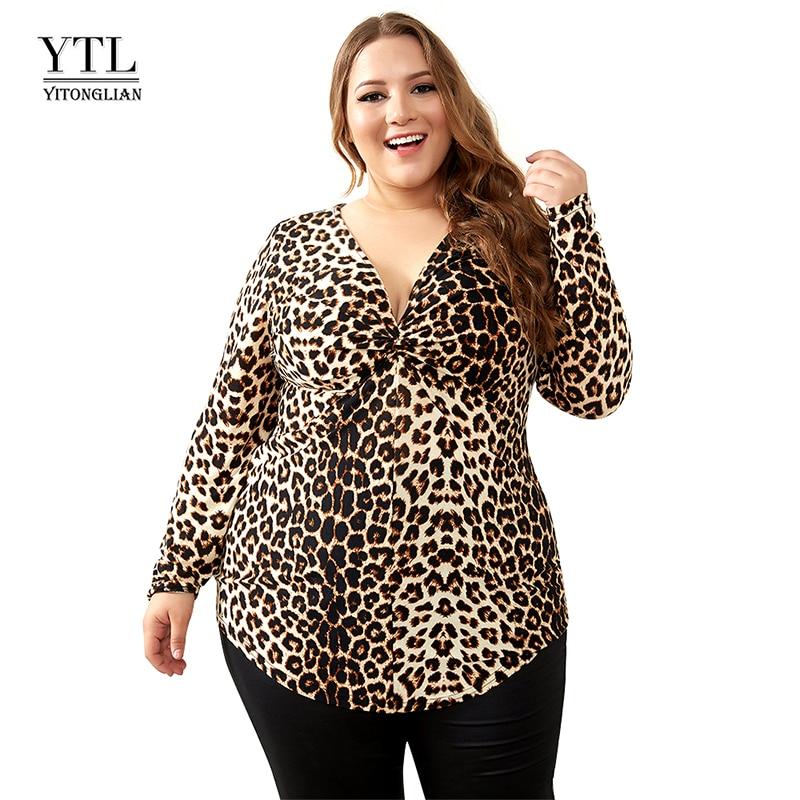 YTL Plus Size Blouses for Women Leopard Sexy Deep V Neck Long Sleeve Slim Tunic Top Large Size Blouses Women 5XL 6XL 7XL H088