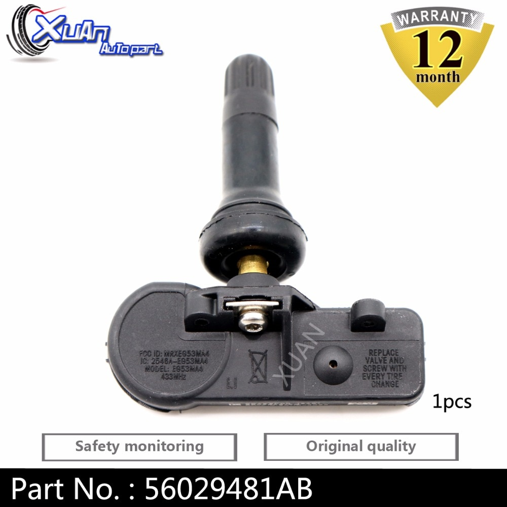 XUAN 56029481AB 1pcs TPMS Tire Pressure Monitor Sensor For DODGE NITRO RAM 1500 2500 3500 PICKUP JEEP COMMANDER WRANGLER 433Mhz