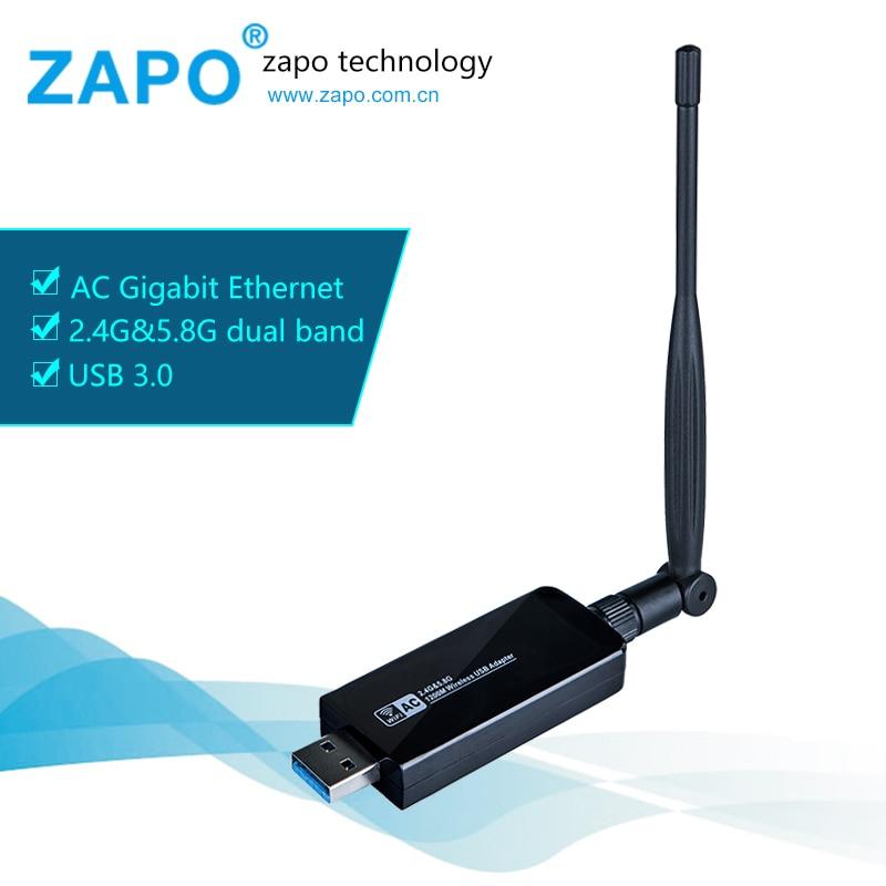 Zapo más fuerte 5.8g wifi USB 3.0 1200 Mbps adaptador de banda dual 5dbi Antenas inalámbrico 802.11ac tarjeta de red para Ventanas linux Android