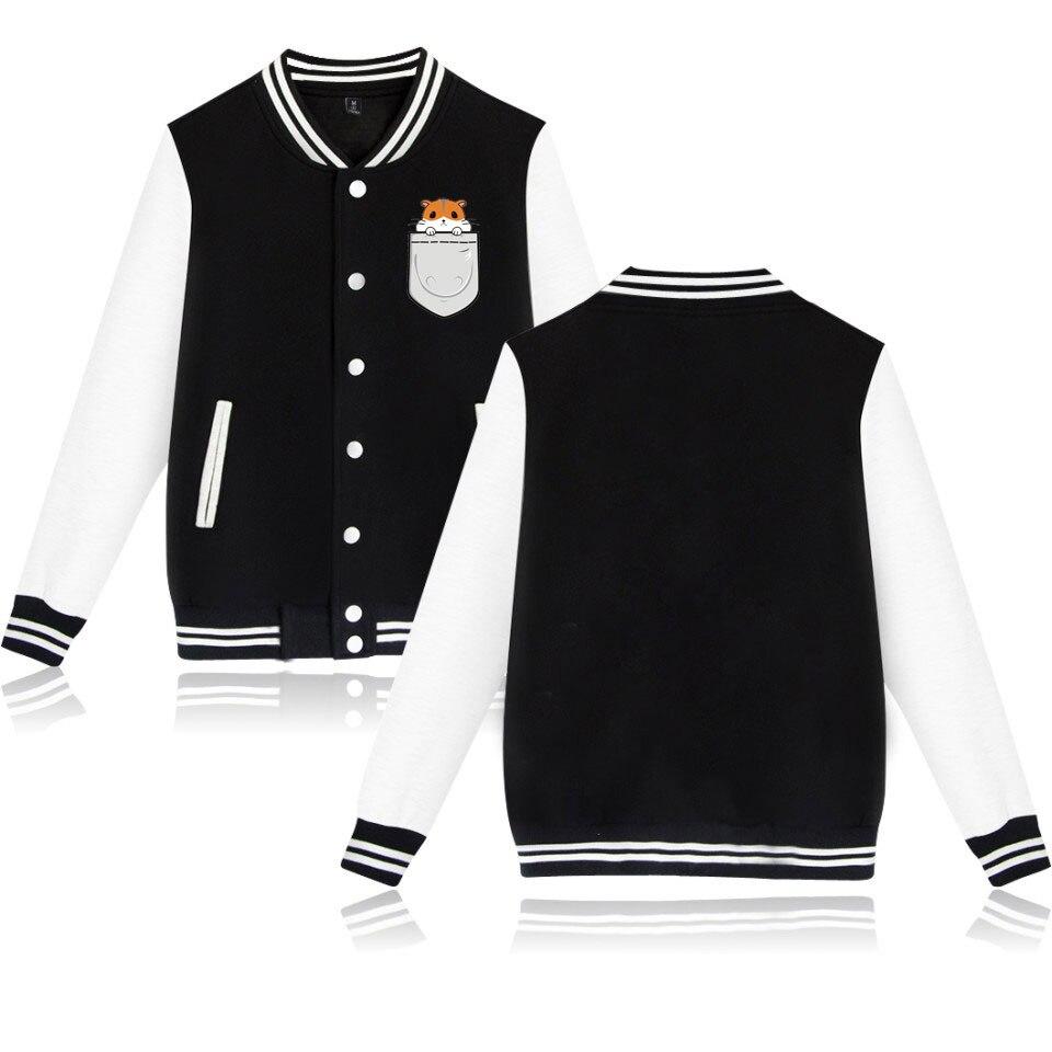 Linda chaqueta con estampado de mascota bolsillo hámster hebilla chaqueta Pet Casual Wear par bolsillo mascota sudadera Jersey de béisbol