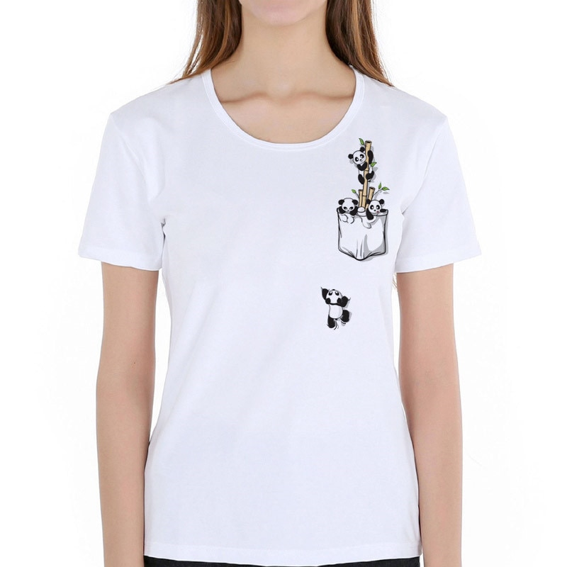 Camiseta de verano para mujer linda Harajuku Koala mono Panda rojo con estampado de bolsillo Camiseta de manga corta para niña