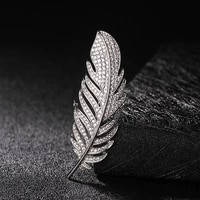 donia jewelry stylish high end transparent white cubic zircon micro embellished elegant leaf brooch for female christmas gifts