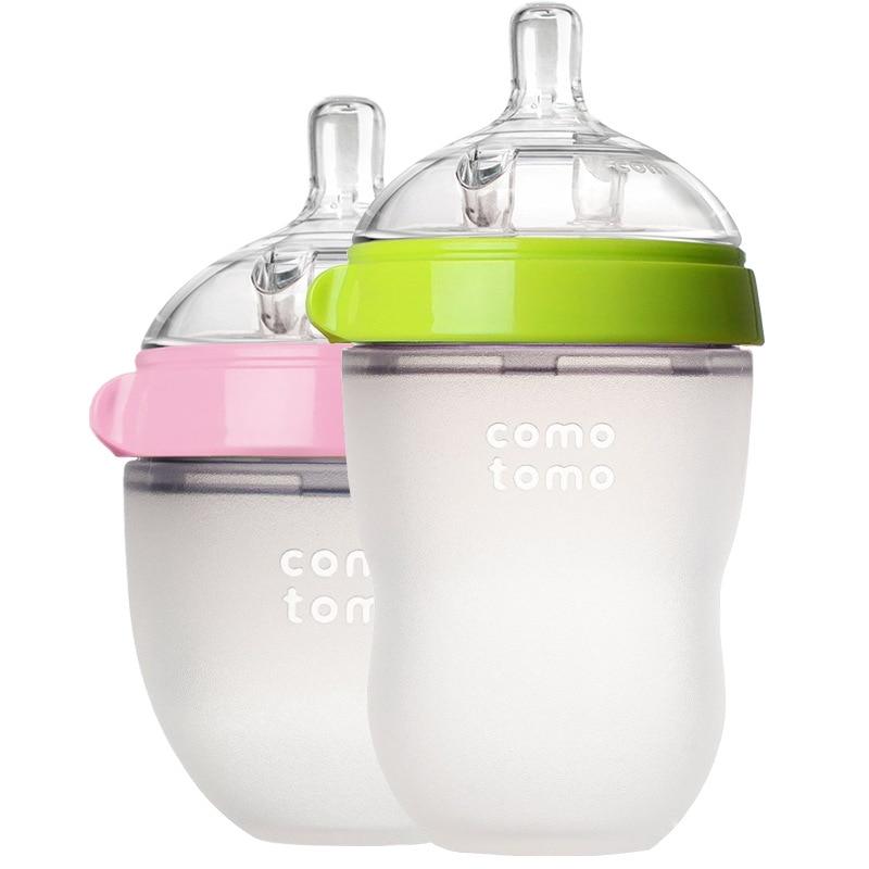 Comotomo şişesi yenidoğan bebek biberon 150ml 250ml pembe yeşil comotomo