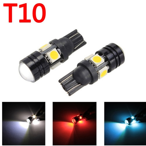 2 bombillas led de alta potencia W5W con lente de proyector para Ford para BMW para Lada para Kia para Toyota blanco, azul, rojo