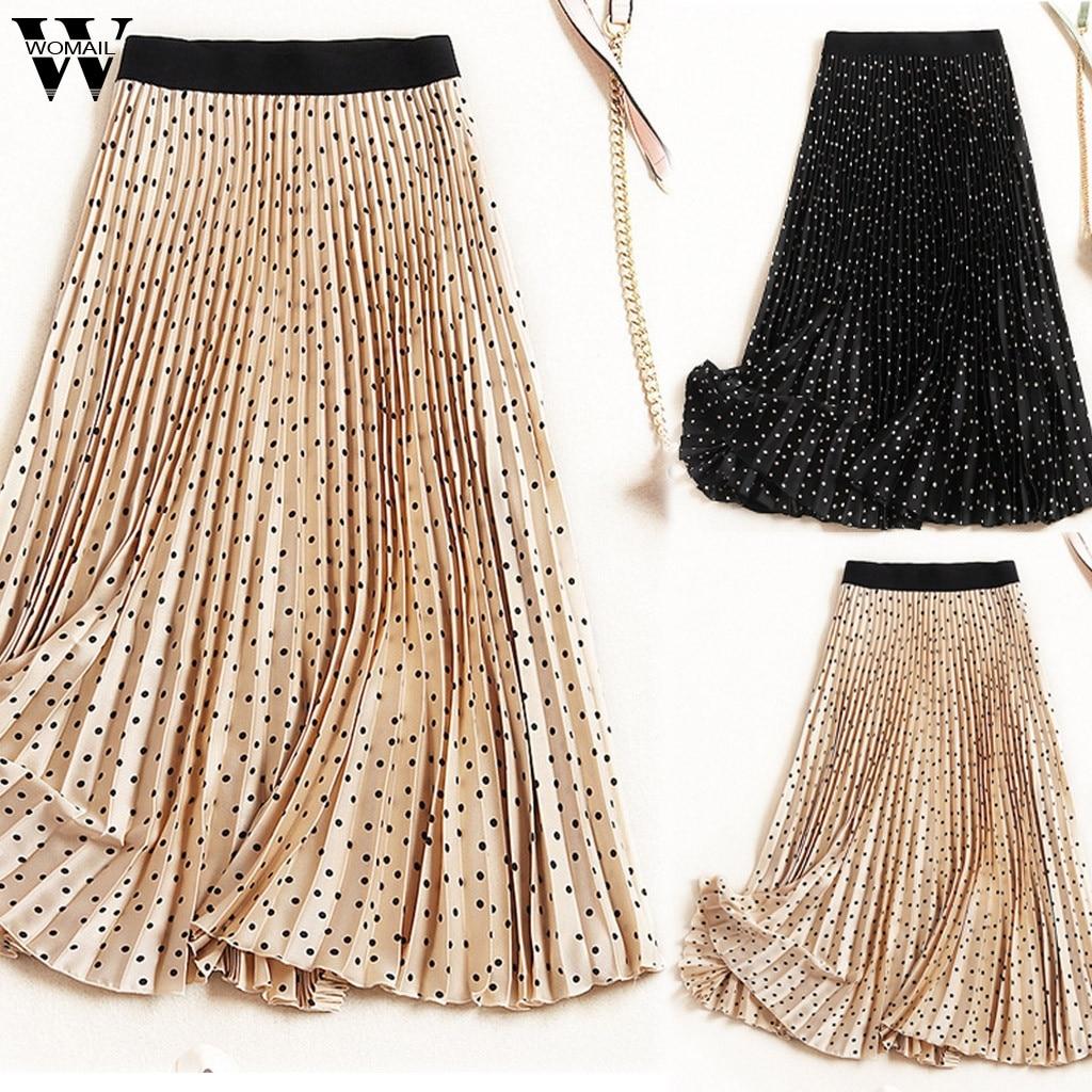 Womail Faldas Mujer moda verano Boho cintura elástica faldas plisadas Vintage sólido kawaii Slim Casual Falda larga de playa J66