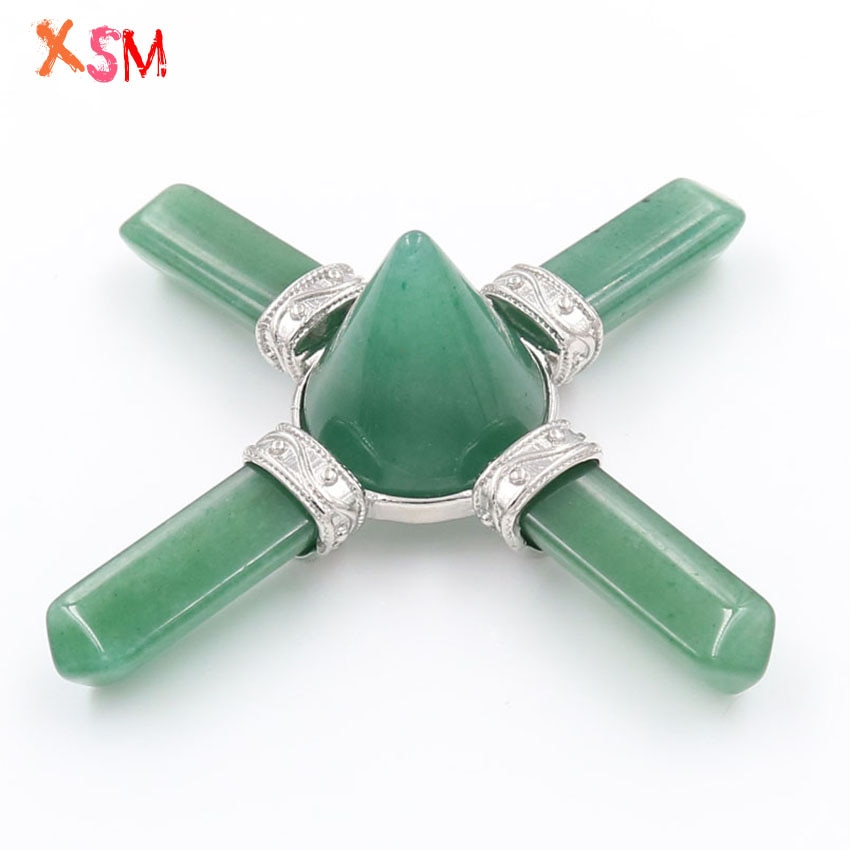 xinshangmie Green Aventurine Crystal Energy Generator 4 Point Pyramid Crystal Healing Altar Tools